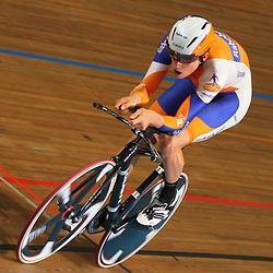 Theo Bos werd tweede op de kilometer tijdens het NK baan in 1.03,394