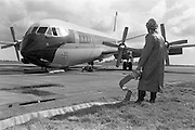 29/03/1963<br /> 03/29/1963<br /> 29 March 1963<br /> B.E.A. Aircrash at Dublin Airport. The crashed BEA Vanguard G-APEJ that carried 43 passengers and seven crew from London to Dublin. The Airport Terminal can be seen 1/2 mile in background. There were no fatalities in the accident. Note Emergency worker/ Fireman with hose on standby as one colleague checks the cockpit and another takes a look at the failed undercarriage.