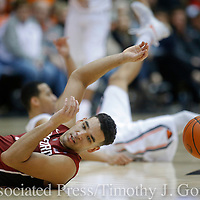 Stanford's Dorian Pickens hits the floor after being fouled going after a loose ball during the second half of an NCAA college basketball game against Oregon State, in Corvallis, Ore., Thursday, Jan. 19, 2017. Stanford won 62-46. (AP Photo/Timothy J. Gonzalez)