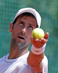 BELGRADE (SERBIA), May, 2, 2018  Former World number one tennis player Novak Djokovic serves the ball during open training session in Belgrade, Serbia on May 2, 2018. (Credit Image: © Predrag Milosavljevic/Xinhua via ZUMA Wire)