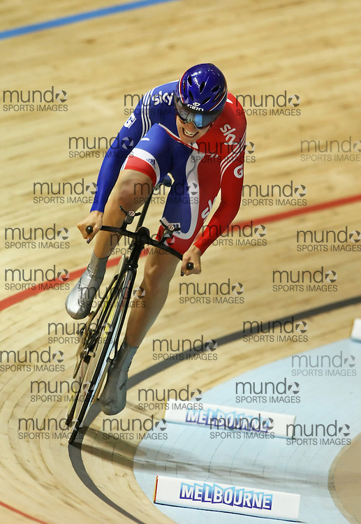 (Melbourne, Australia---8 April 2012) Danielle King of Great Britain racing in the Women's 500m Time Trial at the 2012 UCI Track Cycling World Championships.Copyright 2012 Sean Burges / Mundo Sport Images.