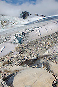 Detail of glacial debris on unnamed glacier flowing from Mount Ethelweard and Icemaker Mountain Coast Mountains British Columbia Canada