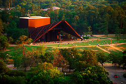 Stock photo of an aerial view of Hermann Park's Miller Outdoor Theater in downtown Houston Texas