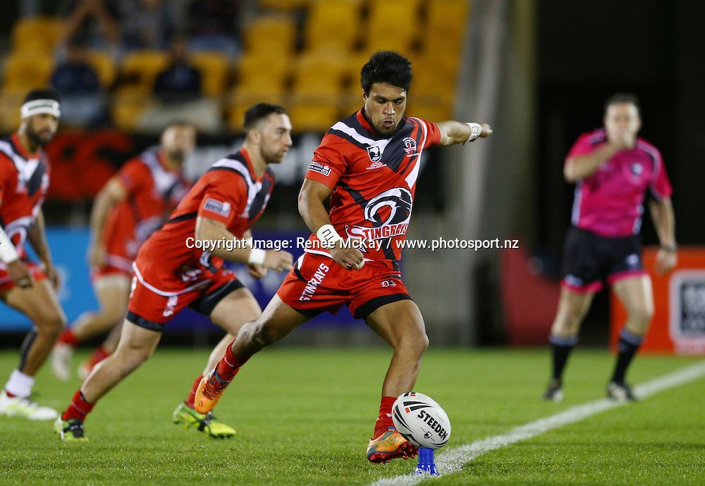 Counites centre Andrew Tusiane kicks off at the NZRL national premiership match between Akarana Falcons vs Counties Manukau Stingrays, at Mt Smart stadium, Auckland, 16 September 2016. Copyright Image: Renee McKay / www.photosport.nz