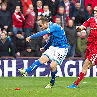 Aberdeen v St Johnstone....01.02.14   League Cup Semi-Final<br /> Lee Crof t sees his shot saved by Jamie Langfield<br /> Picture by Graeme Hart.<br /> Copyright Perthshire Picture Agency<br /> Tel: 01738 623350  Mobile: 07990 594431