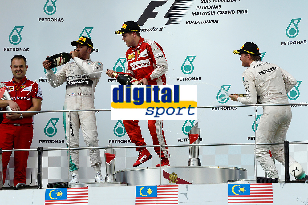 VETTEL sebastian (ger) ferrari sf15t ambiance portrait podium ambiance HAMILTON lewis (gbr) mercedes gp mgp w06 ambiance portrait<br /> ROSBERG nico (ger) mercedes gp mgp w06 ambiance portrait during 2015 Formula 1 FIA world championship, Malaysia Grand Prix, at Sepang from March 27th to 30th. Photo Eric Vargiolu / DPPI