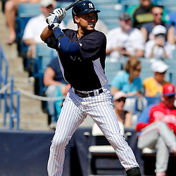 Mar 16, 2013; Tampa, FL, USA; New York Yankees shortstop Derek Jeter (2) against the Philadelphia Phillies during a spring training game at George Steinbrenner Field. Mandatory Credit: Derick E. Hingle-USA TODAY Sports