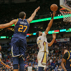 Mar 11, 2018; New Orleans, LA, USA; New Orleans Pelicans forward Anthony Davis (23) shoots over Utah Jazz center Rudy Gobert (27) during the first half at the Smoothie King Center. Mandatory Credit: Derick E. Hingle-USA TODAY Sports