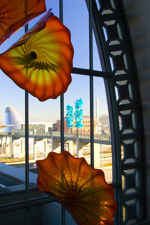Museum of Glass and Chihuly Bridge of Glass, viewed through Monarch Window of glass art by Dale Chihuly, Union Station, Tacoma, Washington, USA