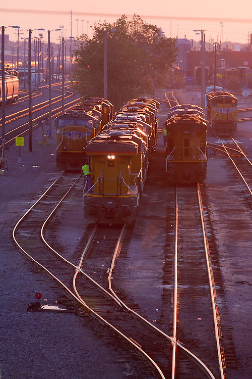 Many locomotives idle on the diesel ready tracks at Union Pacific's giant Proviso Freight Yard in suburban Chicago, IL.