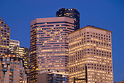 Downtown buildings at dusk, Seattle, Washington