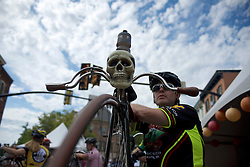 Riders participating in a Lenape Scorcher Penny-farting bikerace prepare for the start. The race is held in conjunction with the September 11, 2016 Bucks County Classic, in Doylestown Pennsylvania.