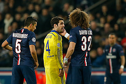 Cesc Fabregas of Chelsea is patted on the cheek by David Luiz of Paris Saint-Germain - Photo mandatory by-line: Rogan Thomson/JMP - 07966 386802 - 17/02/2015 - SPORT - FOOTBALL - Paris, France - Parc des Princes - Paris Saint-Germain v Chelsea - UEFA Champions League, Last 16, First Leg.