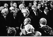 Inaugeration of President Hillery..1983.03.12.1983.12.03.1983.3rd December 1983...Dignitaries from home and abroad attended the Inaugeration of Patrick Hillery, as president of Ireland. the ceremony took place at St Patrick's Hall,Dublin Castle...Photo of Cardinal Tomas O'Fiaich as he leaves St Patrick's Hall,Dublin Castle.