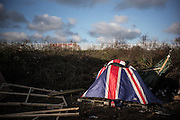 A tent with Union Jack falg colours is seen in the Calais migrants camp, France. FEDERICO SCOPPA/CAPTA