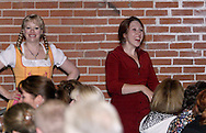 """Tamra Francis (left) and Jene Rebbin Shaw during Mayhem & Mystery's production of """"Festival Fracas"""" at the Spaghetti Warehouse in downtown Dayton, Monday, September 27, 2010."""