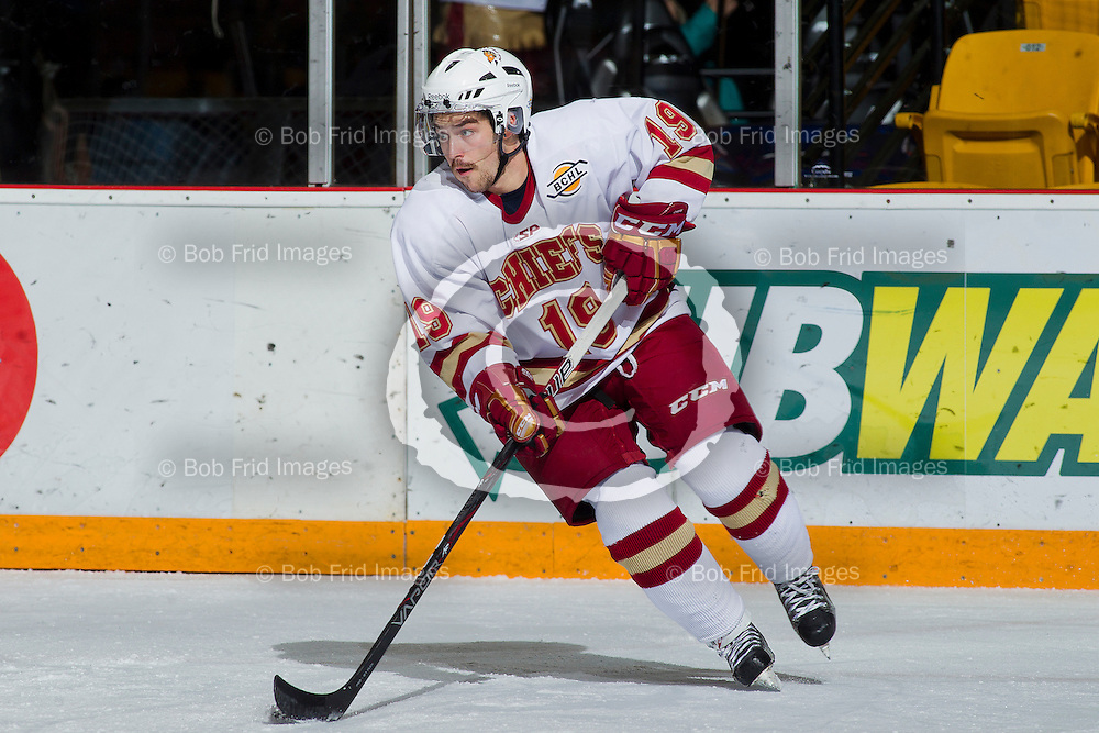 10 November 2012:   Alexandre Perron - Fontaine (19) of the Chiefs during a game between the Chilliwack Chiefs and the Penticton Vees at  Prospera Centre, Chilliwack, BC.    Final Score: Chilliwack 5  Penticton 4   ****(Photo by Bob Frid - All Rights Reserved 2012): mobile: 778-834-2455 : email: bob.frid@shaw.ca ****