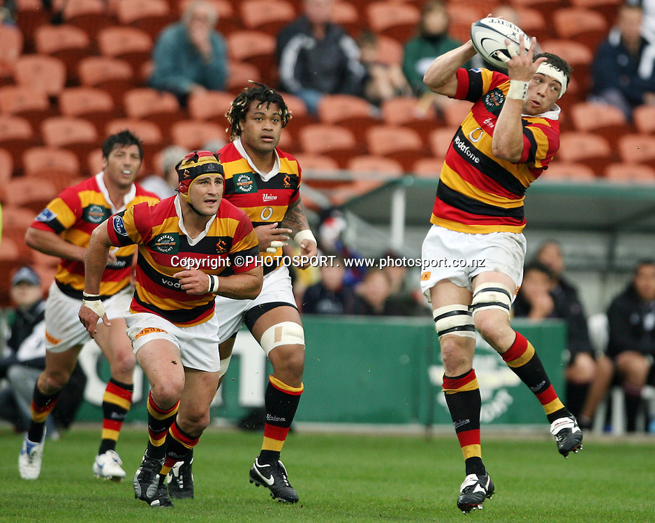 Jono Gibbes takes a high one during the Air NZ Cup game Waikato v North Harbour at Waikato Stadium on the 1st October 2006 Won by Waikato 31-15.