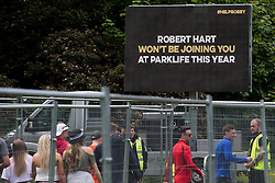 © Licensed to London News Pictures . 07/06/2015 . Manchester , UK . An appeal , organised by Greater Manchester Police , for information leading to the ID of the murderer of Robert Hart , who died following an assault at the 2014 Parklife festival . Festival goers arrive at The Parklife 2015 music festival in Heaton Park , Manchester . Photo credit : Joel Goodman/LNP