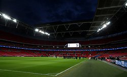 General view of Juventus players on the pitch before the press conference at Wembley Stadium, London.