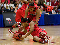March 20, 2010; Stanford, CA, USA; Rutgers Scarlet Knights guard Khadijah Rushdan (1) grabs a loose ball against the Iowa Hawkeyes during the second half in the first round of the 2010 NCAA womens basketball tournament at Maples Pavilion.  Iowa defeated Rutgers 70-63.