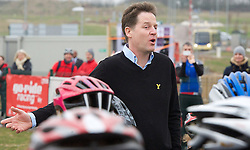 The Liberal Democrat Party Leader and Deputy Prime Minister , NICK CLEGG MP , at York Sports Village with young cycling enthusiast during  the Liberal Democrats Annual Spring Conference in York, United Kingdom. Saturday, 8th March 2014. Picture by Elliot Franks / i-Images