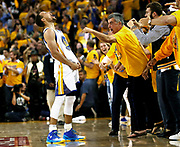 Golden State Warriors' Stephen Curry celebrates his 3-pointer in the final minute of the Warriors' 96-88 win over Oklahoma City Thunder in Game 7 of NBA Playoffs' Western Conference finals at Oracle Arena in Oakland, California. Curry was the unanimous selection for NBA MVP for the second consecutive season.