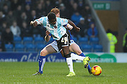 Shrewsbury Town FC midfielder Larnell Cole flicks the ball on during the Sky Bet League 1 match between Chesterfield and Shrewsbury Town at the Proact stadium, Chesterfield, England on 2 January 2016. Photo by Aaron Lupton.