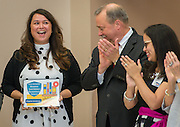 Diana Castillo reacts during a Children at Risk awards presentation to area schools at Pilgrim Academy, June 6, 2016.