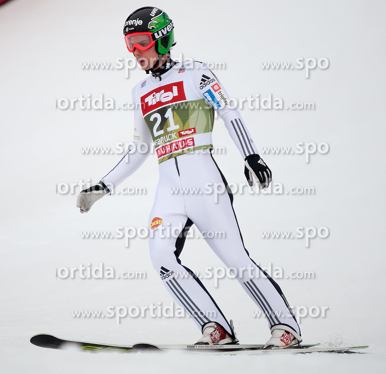 03.01.2015, Bergisel Schanze, Innsbruck, AUT, FIS Ski Sprung Weltcup, 63. Vierschanzentournee, Innsbruck, Qalifikations-Sprung, im Bild Rok Justin (SLO) // Rok Justin of Slovenia reacts after his qualification jump for the 63rd Four Hills Tournament of FIS Ski Jumping World Cup at the Bergisel Schanze in Innsbruck, Austria on 2015/01/03. EXPA Pictures © 2015, PhotoCredit: EXPA/ Jakob Gruber