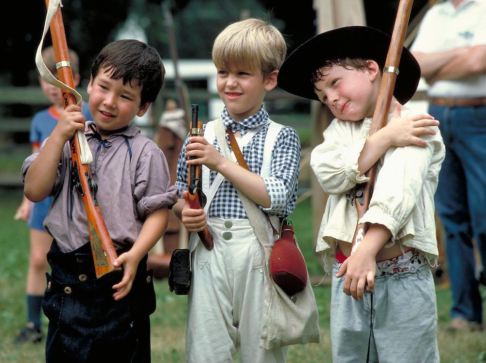 Boys at pretend drill at Revolutionary War re-enactment  Bucks County, PA