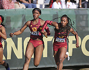 Angie Annelus (Anglerne Annelus)takes the handoff from Lanae-Tava Thomas on the third leg of the Southern California Trojans women's 4 x 100m relay that won its heat in 42.84 for the top time during the NCAA West Track & Field Preliminary, Saturday, May 25, 2019, in Sacramento, Calif.
