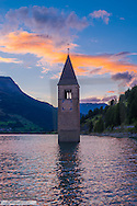 Bell Tower in Lagio di Resia, Reschensee, South Tyrol, Italy