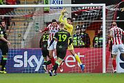 Forest Green Rovers goalkeeper James Montgomery catches a cross during the EFL Sky Bet League 2 match between Cheltenham Town and Forest Green Rovers at Jonny Rocks Stadium, Cheltenham, England on 29 December 2018.