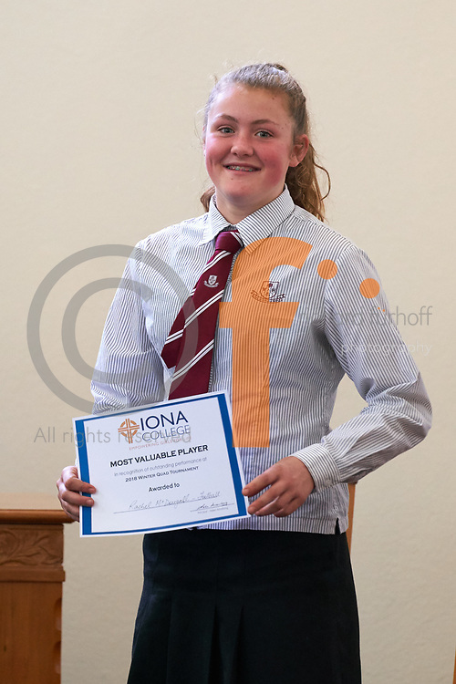 Woodford/Iona/Nga Tawa/St Matthews Quad Sports Event, 2018.<br /> Netball/Football/Hockey<br /> Awards Presentations