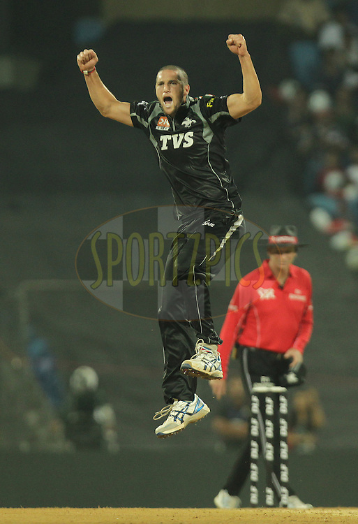 Pune Warriors player Wayne Parnell celebrates after getting a wicket during  match 10 of the Indian Premier League ( IPL ) Season 4 between the Pune Warriors and the Kochi Tuskers Kerala held at the Dr DY Patil Sports Academy, Mumbai India on the 13th April 2011..Photo by BCCI/SPORTZPICS