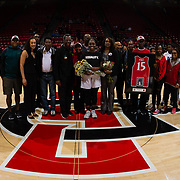 24 February 2018: The San Diego State women's basketball team closes out it's home schedule of the regular season Saturday afternoon against San Jose State. San Diego State Aztecs guard McKynzie Fort (15) seen her in a senior ceremony prior to taking on San Jose State. At halftime the Aztecs lead the Spartans 36-33 at Viejas Arena.<br /> More game action at sdsuaztecphotos.com