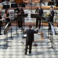 Classical music ensemble performing in San Luis de los Franceses church, Seville, Spain