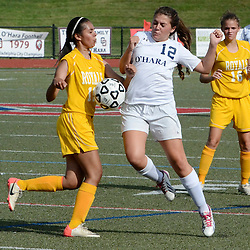 O'Hara's Isabella Mirarchi (12) and Upper Darby's Chelsea Vondran (19) fight for possession of a loose ball during the first half of the Upper Darby at Cardinal O'Hara girls soccer game, Wednesday September 3, 2014.  (Times staff / TOM KELLY IV)