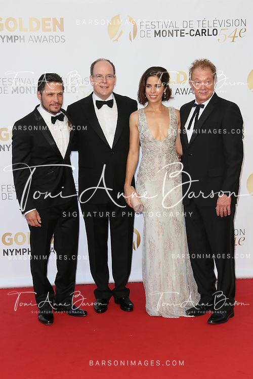 MONTE-CARLO, MONACO - JUNE 11:  (L-R) Nick Wechler, Prince Albert II of Monaco, Ana Ortiz and Jeff Perry attend the Closing Ceremony and Golden Nymph Awards of the 54th Monte Carlo TV Festival on June 11, 2014 in Monte-Carlo, Monaco.  (Photo by Tony Barson/FilmMagic)