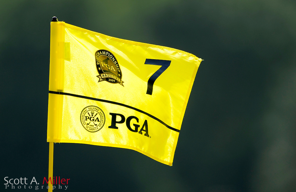 Aug 13, 2009; Chaska, MN, USA; The flag in the seventh hole during the first round of the 2009 PGA Championship at Hazeltine National Golf Club.  ©2009 Scott A. Miller