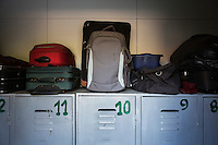 ROME, ITALY - 26 AUGUST 2016: Trolleys and bags belonging to homeless men are store on the top of lockers by the rooms of Casa Serena, a prefabricated house for homeless men in Rome, Italy, on August 26th 2016.<br /> <br /> Casa Serena, inaugurated in 1993, hosts approximately 70 men, 50 years or above, of any nationality, religion, colour. <br /> <br /> The Missionaries of Charity-Contemplative is a diocesan religious Institute composed of Brothers and priests with equal rights and obligations, founded by Blessed Teresa of Calcutta with Fr. Sebastian Vazhakala in 1979. The members take public vows of Chastity, Poverty, Obedience and free service to the poor.<br /> <br /> Mother Teresa, also known as Blessed Teresa of Calcutta, was an Albanian Roman Catholic nun and missionary. She founded the Missionaries of Charity, a Roman Catholic religious congregation, whose members must adhere to the vows of chastity, poverty, and obedience, as well as the vow to give wholehearted free service to the poorest of the poor. Shortly after she died in 1997, Pope John Paul II waived the usual five-year waiting period and allowed the opening of the process to declare her sainthood. She was beatified in 2003. A second miracle was credited to her intercession by Pope Francis, in December 2015, paving the way for her to be recognised as a saint by the Roman Catholic Church. Her canonisation is scheduled for September 4th 2016, a day before the 19th anniversary of her death.