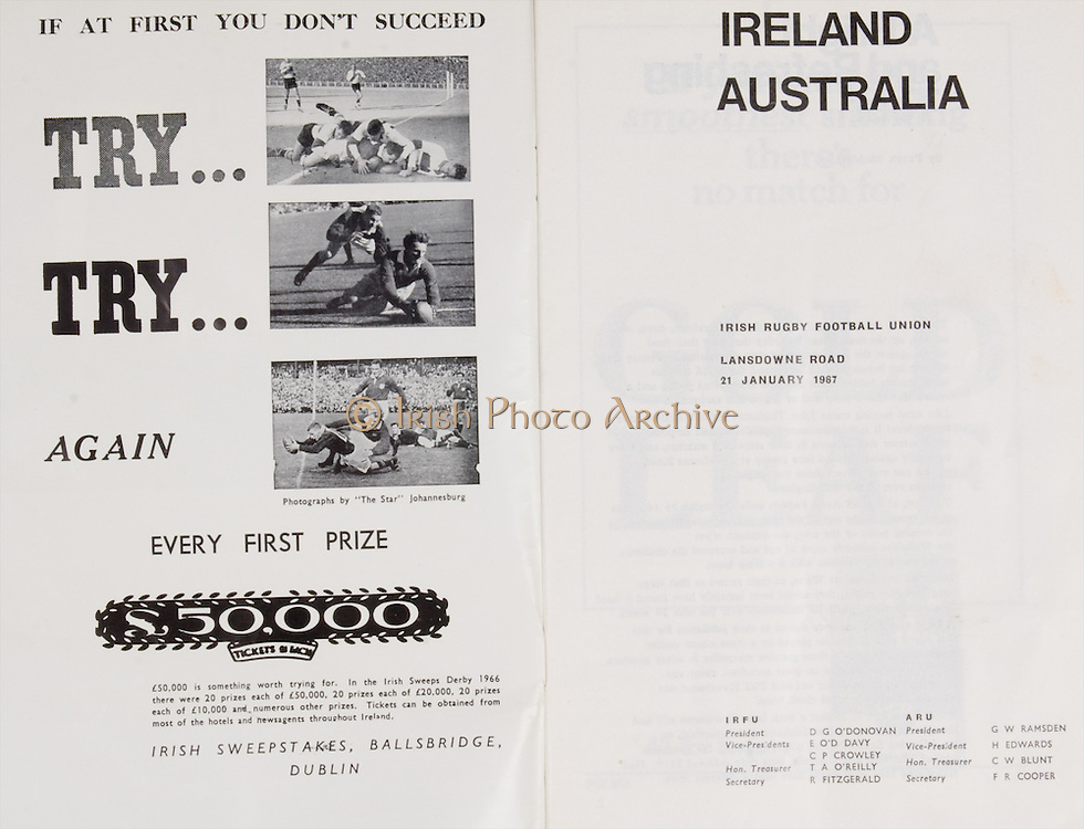 Irish Rugby Football Union, Ireland v Australia, Tour Match, Landsdowne Road, Dublin, Ireland, Saturday 21st January, 1967,.21.1.1967, 1.21.1967,..Referee- M Joseph, Welsh Rugby Union, ..Score- Ireland 15 - 8 Australia, ..Irish Team, ..T J Kiernan,  Wearing number 15 Irish jersey, Full Back, Cork Constitution Rugby Football Club, Cork, Ireland,..A T A Duggan, Wearing number 14 Irish jersey, Right Wing, Landsdowne Rugby Football Club, Dublin, Ireland,..F P K Bresnihan, Wearing number 13 Irish jersey, Right Centre, University College Dublin Rugby Football Club, Dublin, Ireland, ..H H Rea, Wearing number 12 Irish jersey, Left Centre, Edinburgh University Rugby Football Club, Edinburgh, Scotland, ..P J McGrath,  Wearing number 11 Irish jersey, Left Wing, University college Cork Rugby Football Club, Cork, Ireland,  ..C M H Gibson, Wearing number 10 Irish jersey, Stand Off, N.I.F.C, Rugby Football Club, Belfast, Northern Ireland, ..B F Sherry, Wearing number 9 Irish jersey, Scrum Half, Terenure Rugby Football Club, Dublin, Ireland, ..K G Goodall, Wearing number 8 Irish jersey, Forward, Newcastle University Rugby Football Club, Newcastle, England, ..M G Doyle, Wearing number 7 Irish jersey, Forward, Edinburgh Wanderers Rugby Football Club, Edinburgh, Scotland, ..N Murphy, Wearing number 6 Irish jersey, Forward, Cork Constitution Rugby Football Club, Cork, Ireland,..M Molloy, Wearing number 5 Irish jersey, Forward, University College Galway Rugby Football Club, Galway, Ireland,  ..W J McBride, Wearing number 4 Irish jersey, Forward, Ballymena Rugby Football Club, Antrim, Northern Ireland,..P O'Callaghan, Wearing number 3 Irish jersey, Forward, Dolphin Rugby Football Club, Cork, Ireland, ..K W Kennedy, Wearing number 2 Irish jersey, Forward, C I Y M S Rugby Football Club, Belfast, Northern Ireland, ..T A Moroney, Wearing number 1 Irish jersey, Forward, University College Dublin Rugby Football Club, Dublin, Ireland, ..Australian Team, ..J K Lenehan, Wearing number 2 Australia
