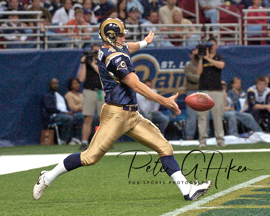 St. Louis Rams punter Bryan Barker gets ready to punt the ball out of the end zone during the first half against Jacksonville at the Edward Jones Dome in St. Louis, Missouri, October 30, 2005.  The Rams beat the Jaguars 24-21.