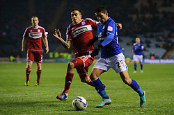 Middlesbrough Defender Sebastian Hines (ENG) challenges Leicester Forward Anthony Knockaert (FRA) during the first half of the match - Photo mandatory by-line: Rogan Thomson/JMP - Tel: Mobile: 07966 386802 18/01/2013 - SPORT - FOOTBALL - King Power Stadium - Leicester. Leicester City v Middlesbrough - npower Championship.