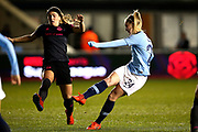 Manchester City midfielder Keira Walsh (24) shoots to score the equalising goal 1-1 during the FA Women's Super League match between Manchester City Women and Everton Women at the Sport City Academy Stadium, Manchester, United Kingdom on 20 February 2019.