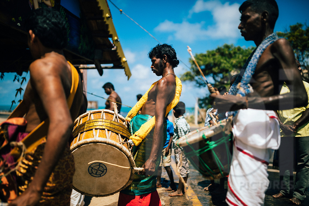 Musicians at a small Hindu temple, Point Pedro, Sri Lanka, Asia