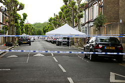 © Licensed to London News Pictures. 28/05/2019. London, UK. A crime scene on Warwick Road, Forest Gate, East London where a man in his 30s died in the early hours of this morning.<br />