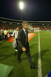 BELGRADE, SERBIA & MONTENEGRO - Wednesday, August 20, 2003: Wales' manager Mark Hughes walks out to face Serbia & Montenegro during the UEFA European Championship qualifying match at the Red Star Stadium. (Pic by David Rawcliffe/Propaganda)