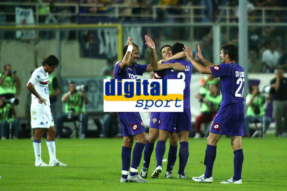 Firenze 27-08-2005<br />Campionato  Serie A Tim 2005-2006<br />Fiorentina Sampdoria<br />nella  foto  festeggiamenti della Fiorentina<br />Foto Snapshot / Graffiti